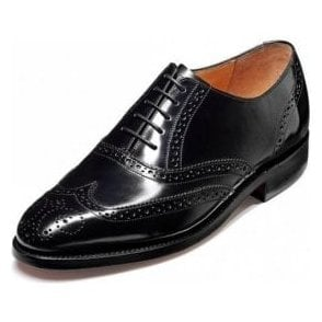 Albert Black Hi-Shine Leather Lace Up Brogue Shoe