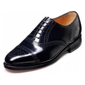 Alfred Black Hi-Shine Leather Lace Up Brogue Shoe
