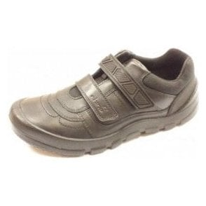 Rhino Warrior Black Leather Boys Velcro Shoe