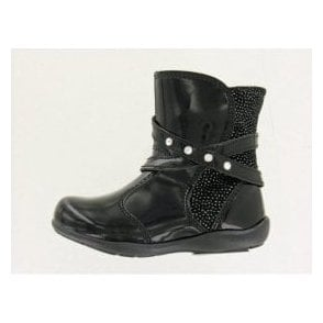 Daffy Black Patent Girl's Boots