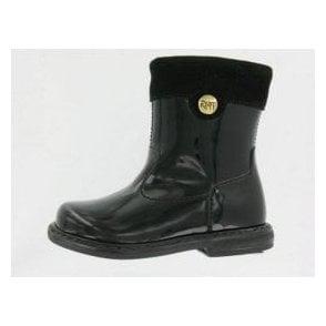 Silona Black Patent Girl's Boots