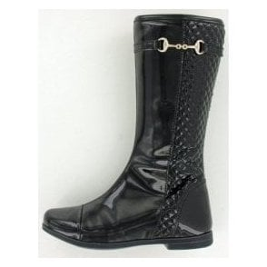 Tyra Black Patent Girl's Boots