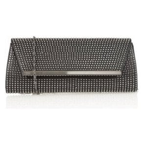 Becky Black Satin & Diamante Clutch Bag