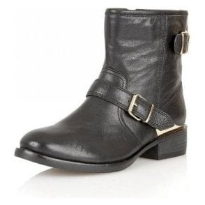 Fabiola Black Leather Ankle Boots