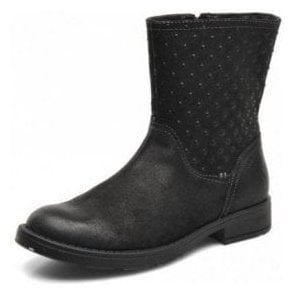 J Sofia A J44D3A Black Leather Girls Boot