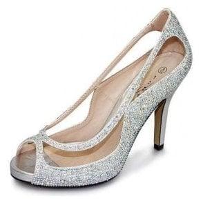 Rachel FLR243 Silver Peep Toe Court Shoe With Diamontes