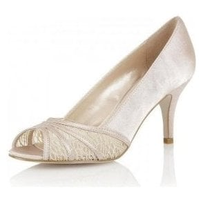 Tina Nude Satin & Mesh Open-Toe Shoes