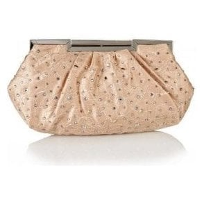 Magena Nude Satin Clutch Bag