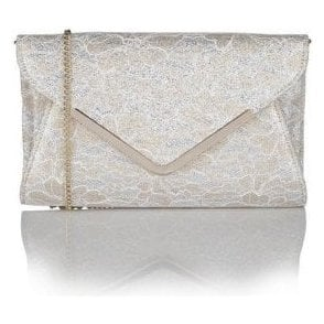 Catori Gold Printed Printed Satin Clutch Bag