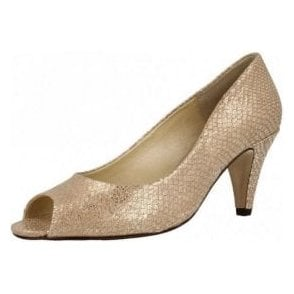 Walsingham Taupe Metallic Print Leather Court Shoe