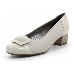 35859-05 Beige Patent Toe Cap Court Shoe