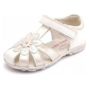 Primrose White / Silver Leather Girl's Sandal