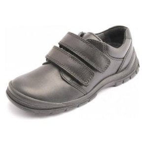 Engineer Black Leather Velcro Boys Shoe