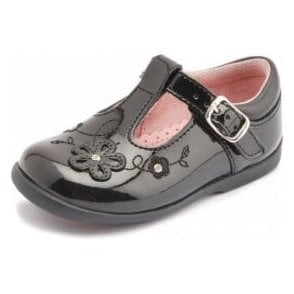 Sunflower Girl's Black Patent First Walking Shoe