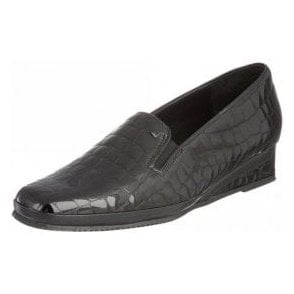 Rochester II Black Patent Wedge Shoe