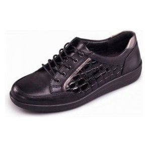 Atom Black Leather and Patent Croc Shoe