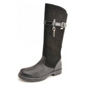 Aqua Feline Black Leather Waterproof Girls Boot