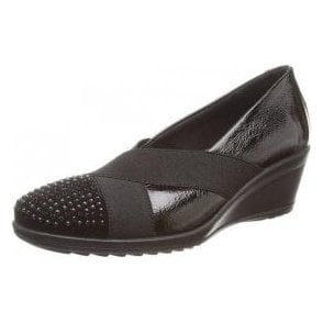 Charity Black Patent Multi Wedge Shoe