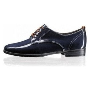 65622-06 Navy Patent Lace Up Shoe