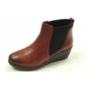 Meryl Dark Red Leather Wedge Ankle Boots