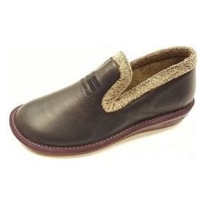 305 Ohio Navy Leather Ladies Slipper