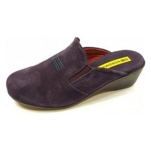 8192 Afelpado Purple Suede Leather Wedge Mule Ladies Slipper