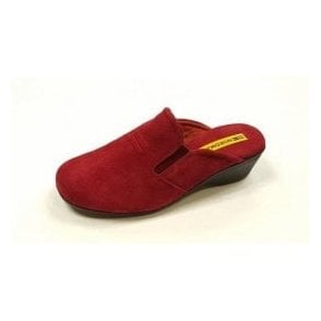 8192 Afelpado Red Suede Leather Wedge Mule Ladies Slipper