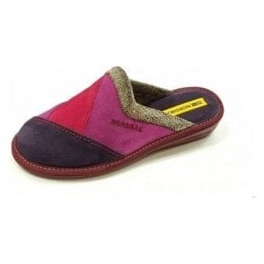 4507 Afelpado Purple Multi Suede Leather Mule Ladies Slipper