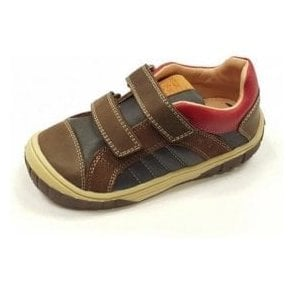 B Omar B Navy / Coffee Leather Velcro Boys Boot