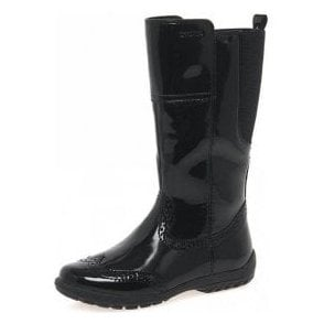 Crissy J5415A Black Patent Girls Brogue Boot