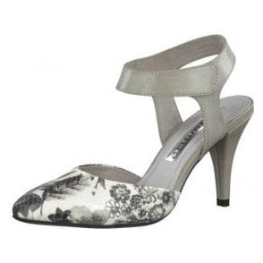 29605-26 Grey Synthetic Leather With Floral Print Sling Shoe