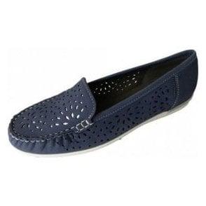 30865-08 Blue Nubuck Leather Loafer Shoe