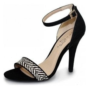 Susanna FLV358 Black Sandal with Zebra Trim