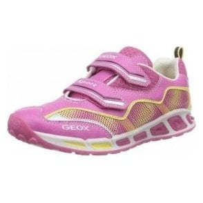 J Shuttle G J6206B Pink / Yellow Girls Trainer Shoe with Flashing Lights