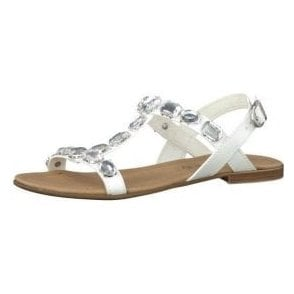 28159-26 White Sandal With Diamontes