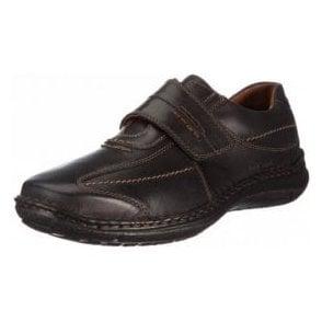 Alec Black Leather Velcro Shoe