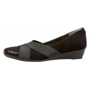 Harmony Black Suede Multi Wedge Shoe