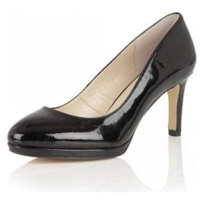 Calla Black Shiny Court Shoes