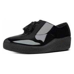 Classic Tassel Superoxford Ladies Black Patent Shoe