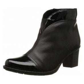 Z7664-00 Black Leather With Patent Toe Ankle Boot