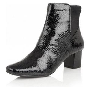 Swallow Black Shiny Snake Ankle Boots