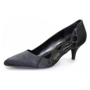 Honor FLR365 Black Satin Look Court Shoe