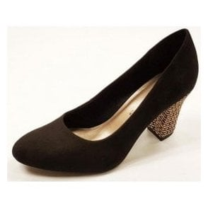 22416-28 Black Synthetic Suede Court Shoe