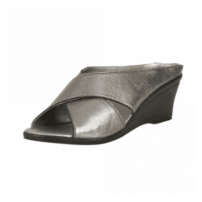 Trino Pewter Leather Open-Toe Mule Sandals