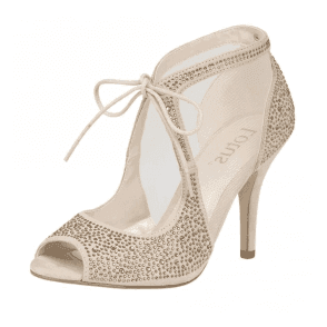 Vanille Nude Microfibre & Black Diamante Shoe-Boots