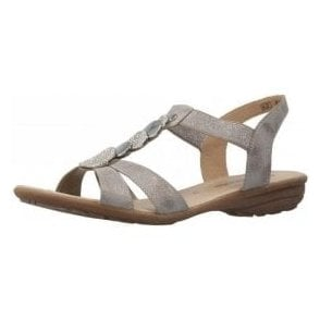 R3638-90 Grey Sandal With Diamonte Trim