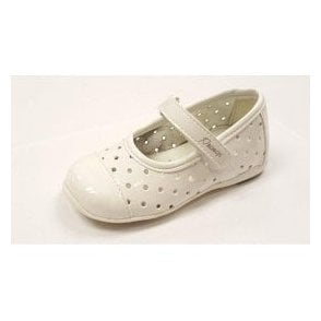 PHE 7107 White Patent Girl's Velcro Shoe