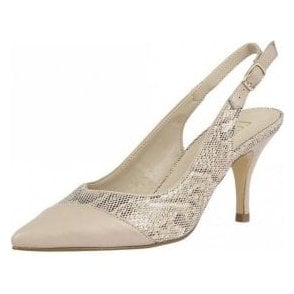 Leontina Beige Leather & Reptile Print Sling-Back Court Shoes