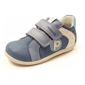 PSU 7521 Blue / White Leather Boy's Velcro Shoe