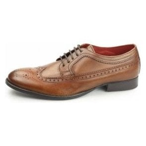 Bailey Tan Leather Lace Derby Brogue Shoe